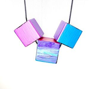 Hand Painted Wooden Block Bead Necklace